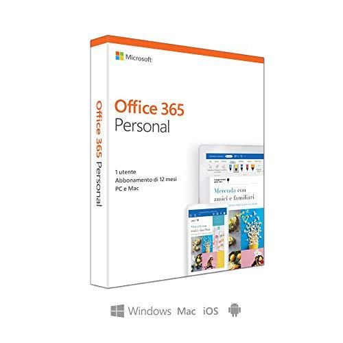 Microsoft Office 365 Personal | utilizzabile da 1 persona,  1 abbonamento annuale, si installa su PC/Mac/iOS/Android  | scatola