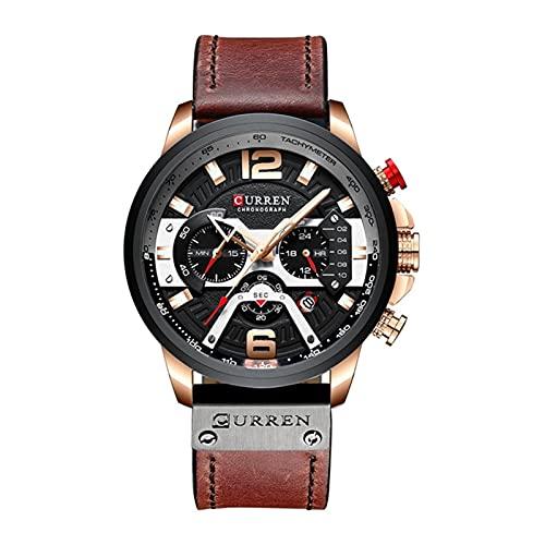 SunnyLou Relojes De Cuarzo Reloj Impermeable para Hombres De Tendencia Moda Multifuncional De Seis Pines Reloj De Calendario De Marcación Grande Reloj De Hombre (Color : Red)