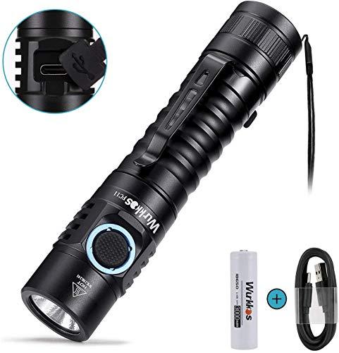 Wurkkos FC11 1300 Lumen Taktische LED Taschenlampe mit high CRI Licht und Akkuladefunktion per USB-C,6 Leuchtstufen,stufenlosen Helligkeitsverstellung,Magnet am Lampenboden, IPX-7,inkl 18650 Akku