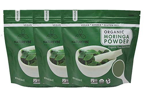 Naturevibe Botanicals Organic Moringa Green Leaf Powder 3lbs (3 Unit of 1lb Each), Raw-Gluten-Free & Non-GMO…
