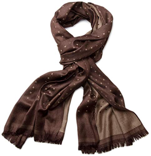 styleBREAKER edler weicher Schal mit Fransen und dezentem Quadrate Muster 01018051 (185 x 60 cm, Dunkelbraun)