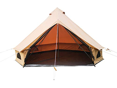 Free Space Outdoor Waterproof Camping Bell Tent with high Strength Tear Resistant Waterproof Polyester Cotton Fabric (Khaki, Dia. 13ft)