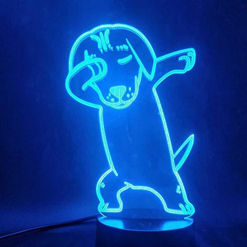 SHJDY hondenbank met diermotieven, nachtlampje, 7 kleuren, 3D-achterlicht, led-flitslicht, USB-voeding, afstandsbediening, geschikt voor decoratie van de kamer, kerstcadeau