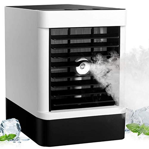 Mini Mobile Klimagerät, Tragbare USB Luftkühler Ventilator mit Wasser Kühlung 3 Geschwindigkeiten oszillierend 90° air cooler für Schlafzimmer Wohnzimmer Büro Reise