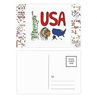 アメリカ の国家の象徴のランドマークのパターン 公式ポストカードセットサンクスカード郵送側20個