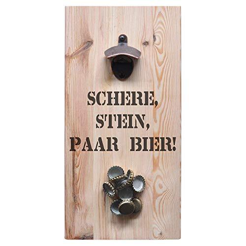 ultiMade - Wandflaschenöffner aus Kiefernholz mit starkem Magnet 40x20x1,8cm Flaschenöffner Geschenk für Männer Vatertagsgeschenk Bieröffner Biergeschenk Bar: Schere, Stein, Paar Bier