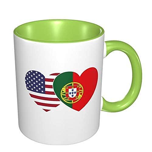 N\A Taza de café de Porcelana de corazón Doble con Bandera de Portugal, Tazas Coloridas con Mango de cerámica para Capuchino, té, Cacao y Cereales, Verde