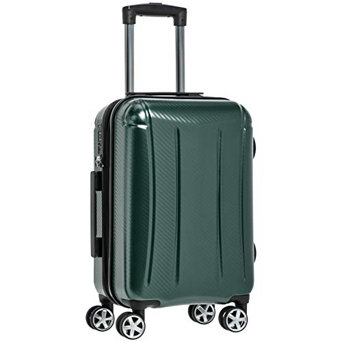 Amazon Basics - Maleta rígida «hardside» Oxford, con ruedas - 55 cm, Verde