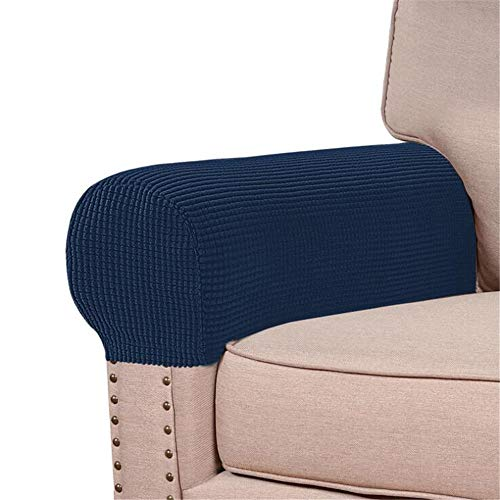 abodos Sofa Armrest Cover, Pineapple Grid Elastic Thickened Non-Slip Furniture Protective Cover Solid Color Armrest Cover,navy blue,four pack