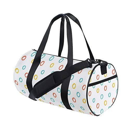 ZOMOY Sporttasche,Kindisch Farbe Reifen Kreis Formen Baby niedlich Kinder Mädchen Motiv,Neue Bedruckte Eimer Sporttasche Fitness Taschen Reisetasche Gepäck Leinwand Handtasche