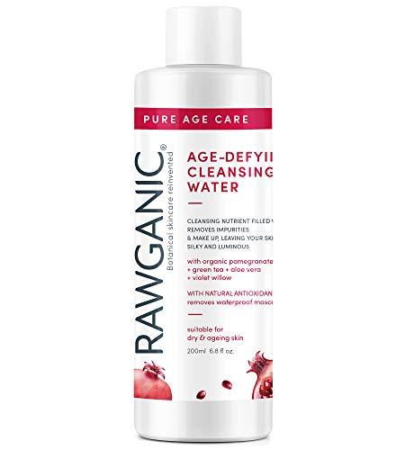 RAWGANIC Anti-aging rengöringsvatten   Mjukt allergivänligt organiskt Micellärt vatten   med Aloe Vera, granatäpple, violett vide och grönt te   200 ml flaska