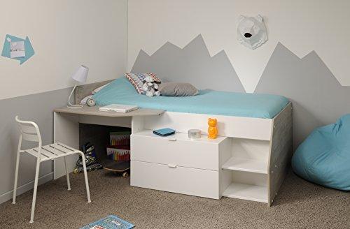 Wohnorama 90x200 Hochbett inkl Schreibtisch u 2 Schubladen Milky b von Parisot Weiß/Grey Loft by