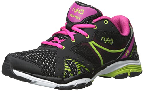 RYKA Women's Vida Rzx Cross-Training Shoe, Black/Ryka Pink/Lime Blaze, 8.5 M US