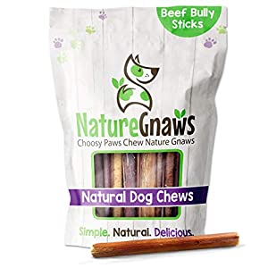 Nature Gnaws Bully Sticks for Dogs – Premium Natural Tasty Beef Bones – Simple Long Lasting Dog Chew Treats – Rawhide Free – 6 Inch (1 Lb) – Mixed Thickness