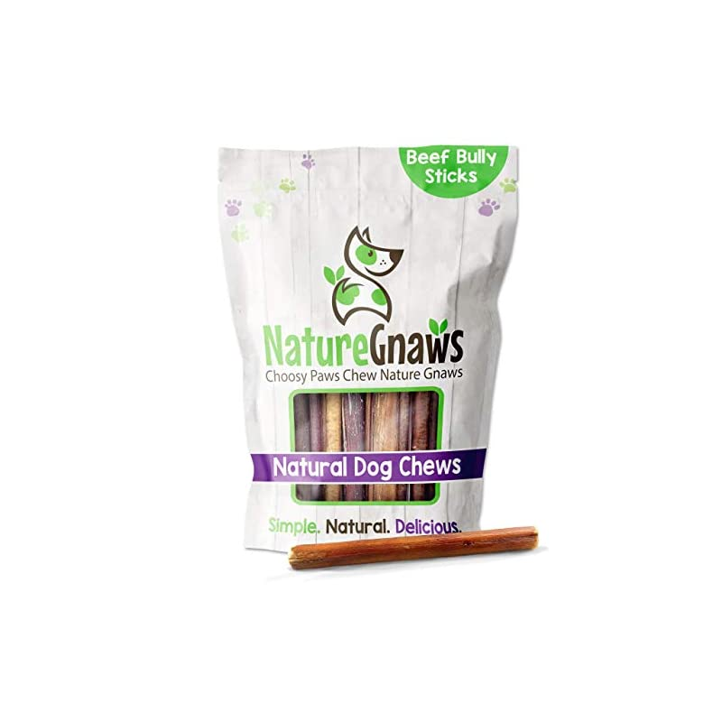 dog supplies online nature gnaws bully sticks for dogs - premium natural tasty beef bones - simple long lasting dog chew treats - rawhide free - 6 inch (1 lb) - mixed thickness