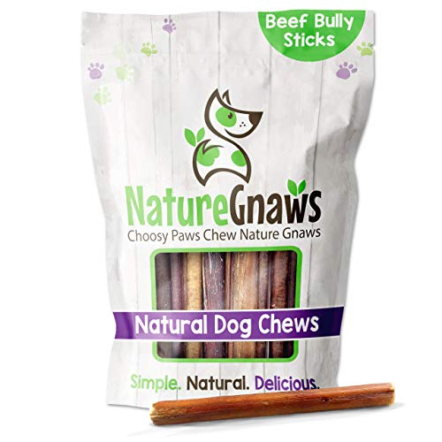 Nature Gnaws Bully Sticks for Dogs - Premium Natural Tasty Beef Bones - Simple Long Lasting Dog Chew Treats - Rawhide Free - 6 Inch (8 oz) - Mixed Thickness