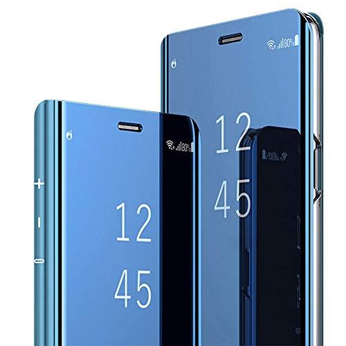 Huawei Mate 10 Lite specchietto Flip Cover,Standing Clear View specchio riflettente brillante Ultra sottile Custodia Full Body per Huawei Mate 10 Pro (blue, Huawei Mate 10 lite)