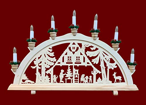 yanka-style Schwibbogen Lichterbogen Leuchter Waldhaus traditionelles Motiv 7flammig Weihnachten Advent Geschenk Dekoration (961)