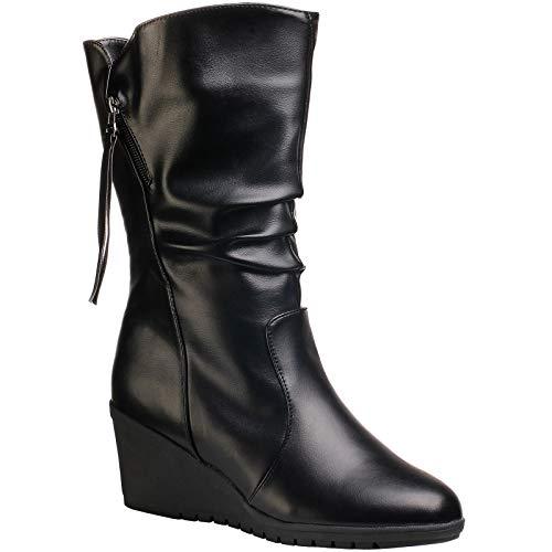 Wealsex Womens Ladies Künstliche PU-Leder Kalb Keilstiefel Mode Erhöhen Plattformen Slip On Stiefel (Schwarz, EU 34=Etikette 35)