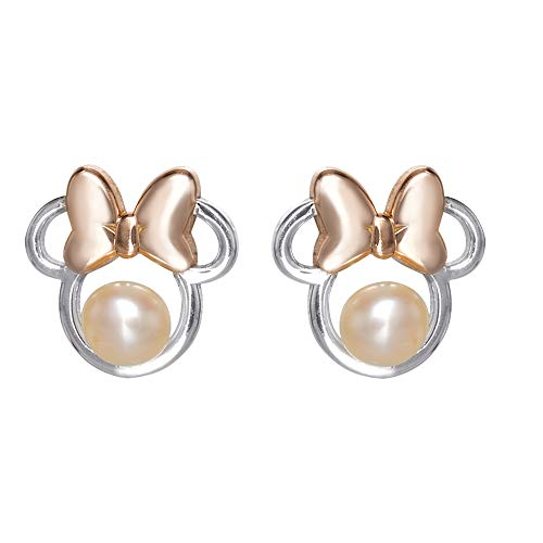 Disney Minnie Mouse Sterling Silver Pearl Stud Earrings, Official License