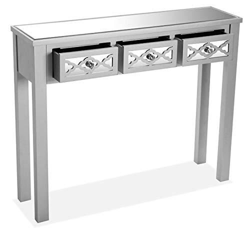 SuskaRegalos – bijzettafel, zilverkleurig, met spiegel – 95 x 27 x 78 cm