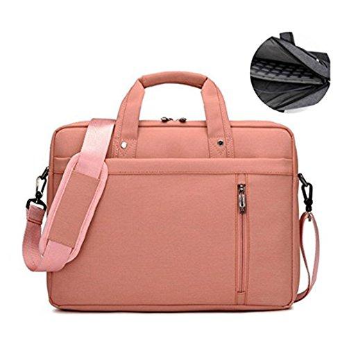 17.3' Waterproof Shockproof Roomy Stylish Laptop Shoulder Messenger Bag Handle Bag Tablet Briefcase For 17 Inch Laptop/Tablet/Macbook/Surface (Pink)