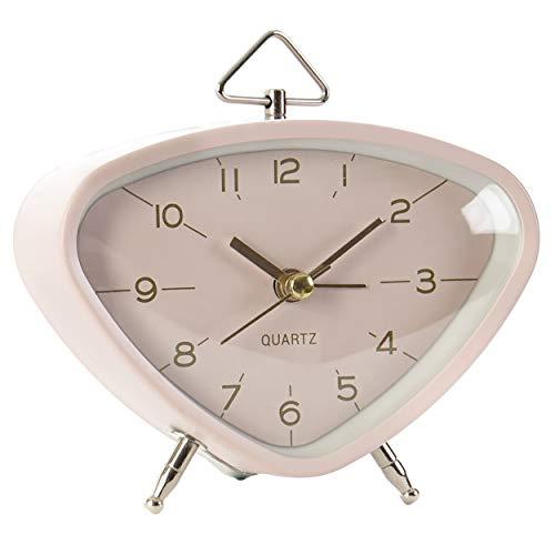 Reloj Despertador de Sobremesa Vintage Decorativo, Reloj Sobremesa Metal. Diseño Vintage/Elegante 11X5X9 cm - Hogar y Más - Rosa Claro