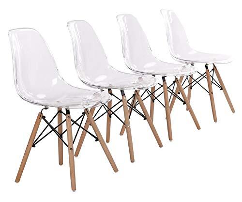 Silla de comedor estilo nórdico con asiento de plástico transparente acrílico y patas de madera para cocina, sala de estar, oficina, salón, vestíbulo, sala de espera, juego de 4 (blanco transparente)