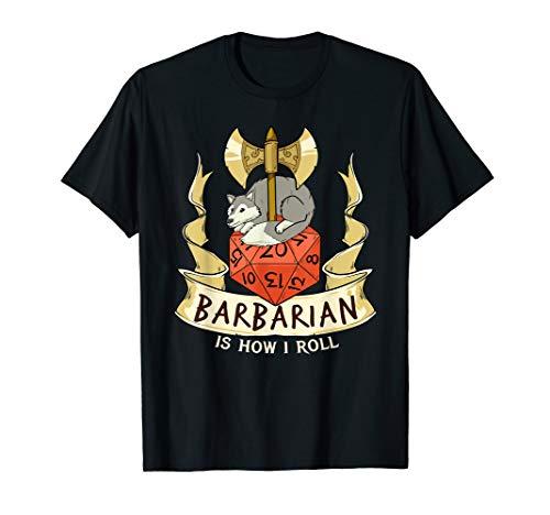 Herren W20 Barbar Würfel Rollenspiel Verliese Kerker Drachen Magie T-Shirt