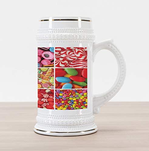 Lunarable Colorful Beer Stein Mug Collage of Photos with Differents Candies Bonbon Fruity Jellies product image