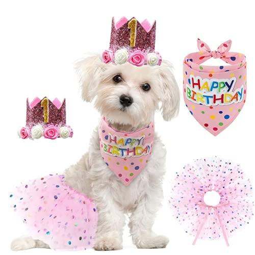 Mascota gato y perro cumpleaños corona falda de gasa saliva toalla conjunto de traje rosa mujer niñas perro 1-10 años decoración de fiesta de cumpleaños suministros de ropa