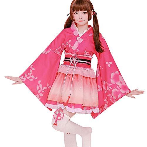 LJLis Damen Yukata Kimono Kostüm Set Peacock Blüten entwerfen Kimono Kleid Anime Cosplay,Rosa