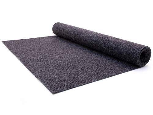 Nadelfilz Teppich-Boden RIPS MALTA B1 als Meterware - Anthrazit, 2,00m x 2,00m, Schwer Entflammbarer, Gerippter Bodenbelag für Messe & Event