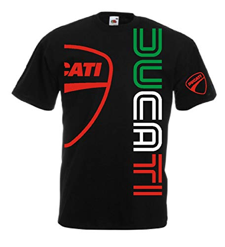 Generico t-Shirt Ducati Logo m1 Biker(L, Schwarz)
