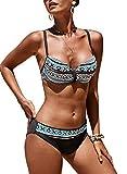 Dokotoo Womens Summer Beach Athletic Tribal Print Ladies Brazilian Fashion Bikini Sets Swimsuit Bathing Suit Swimwear Two Pieces with Swim Briefs Medium