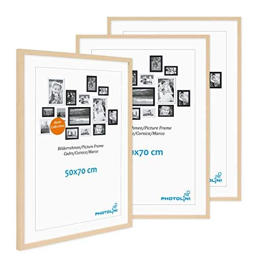 Photolini Juego de 3 Marcos 50x70 cm Modernos, Naturales de MDF con Vidrio acrílico, Incluyendo Accesorios/Collage de Fotos/galería de imágenes