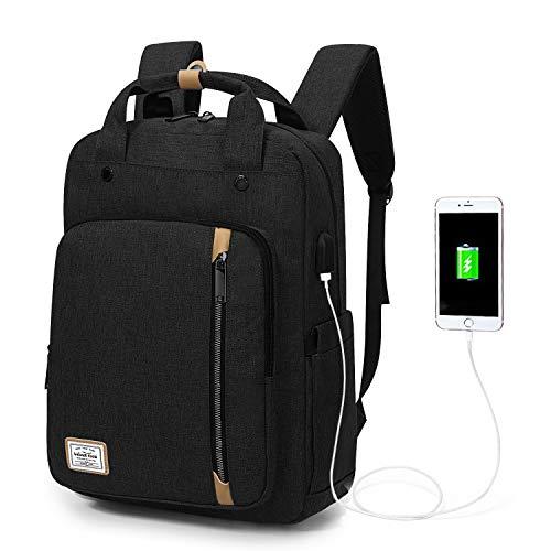 Wind Took USB Anschluss Laptop Rucksack Damen Daypack Schulrucksack für 15 Zoll Notebook, Wasserabweisend, Schwarz