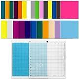 CoiTek 25 Stück Vinyl-Matten in 25 verschiedenen Farben mit 2 Stück Schneidematte,...