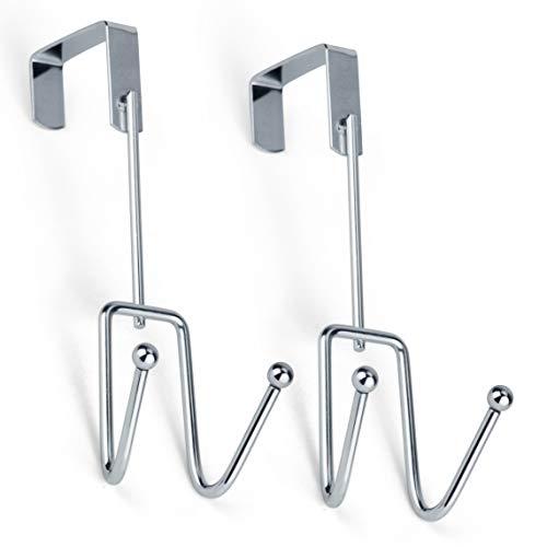DecorRack 2 Chrome Over The Door Hooks, Elegant, Durable, Heavy-Duty Hanging Storage Hook Rack, Space Saving, Declutter, Double Hook Design, Stylish Over Door Hanger for Bathroom, Bedroom (Pack of 2)