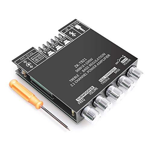 RUIZHI 2x50W + 100W 2,1-Kanal-Subwoofer-Verstärkerplatine mit Höhen- und Bassregelung, Zwei TPA3116-Chips, DC 12-24V, Bluetooth- und AUX-Eingänge, AMP-Platine für drahtlose DIY-Lautsprecher