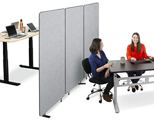 Stand Steady ZipPanels Office Partition | Room Dividers | Three Zip Together Panels Provide Privacy and Reduce Ambient Noise in Workspace, Classroom and Healthcare Facilities (Light Gray / 3 Panels)