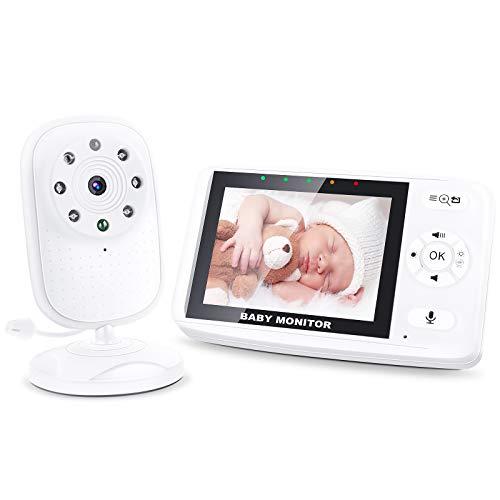 OLEKE 3,5 Zoll Smart Baby Monitor mit Kamera Babyphone TFT LCD Bildschirm Nachtsichtkamera LCD Digital dual Audio Funktion Gegensprechfunktion