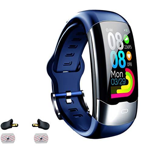 RK-HYTQWR ECG PPG Pulsera Inteligente Hrv Frecuencia cardíaca Monitor de presión Arterial Banda Inteligente, Azul Pulsera Deportiva Inteligente, Azul