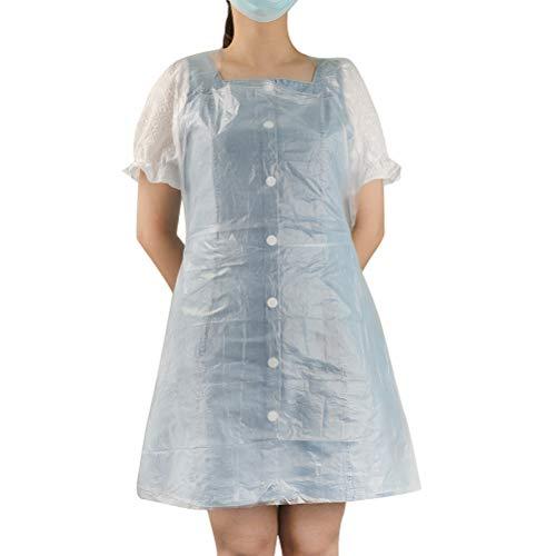 Ibesecc 使い捨てエプロン プラスチックエプロン 食事用エプロン 透明 PE 袖無し 首掛け 軽量 防汚 防油 防水 多機能 100枚入り 男女兼用(60*98cm)