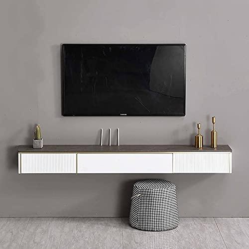 PPOIU Mobile Porta TV Galleggiante, unità da Parete Galleggiante per intrattenimento, ripiano multimediale per decoder Via Cavo Router Telecomandi Lettori Dvd Console di Gioco/B / 120 cm