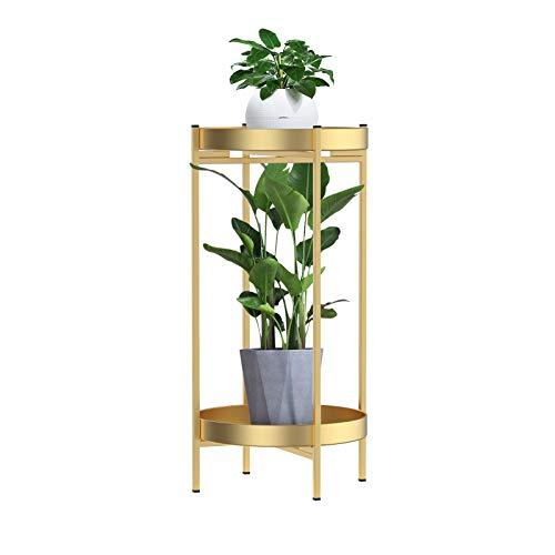 Mesa auxiliar redonda de 2 niveles, mesa de sofá dorada con bandeja pequeña, mesa auxiliar de metal, mesa de café plegable para espacios pequeños, dormitorio, patio