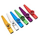 Kazoos de metal, práctica profesional Kazoo flauta de aleación de aluminio 6 piezas para violín para teclado de piano para ukelele para adultos para guitarra para niños