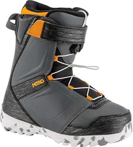 Nitro Snowboards Kinder Droid QLS '19 Leichter Warmer Kids Snowboardboot Snowboardschuh mit herausnehmbarer Innenschuh Schnellschnürsystem Boots, Charc-Blk-Orange, 21.5