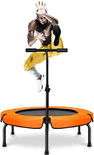 Happy Jump Fitness Trampolin,Ø ca 101 cm, Jumping Fitness Trampolin mit höhenverstellbarer Haltegriff für Indoor,bis 250lb Benutzergewicht
