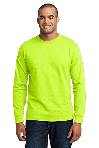 Port & Company® Tall Long Sleeve Core Blend Tee. PC55LST Safety Green XLT